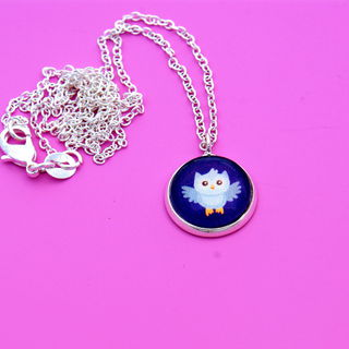 Happyful Blue Owl Necklace