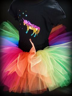 Mayhem Rainbow tutu skirt and Unicorn Tshirt
