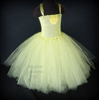 Mayhem Creations Yellow princess tutu dress
