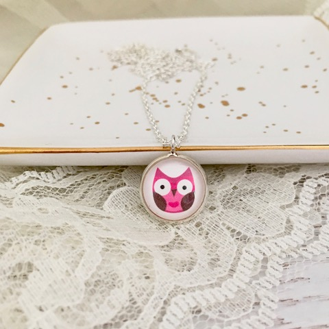 Happyful Pink Owl Necklace
